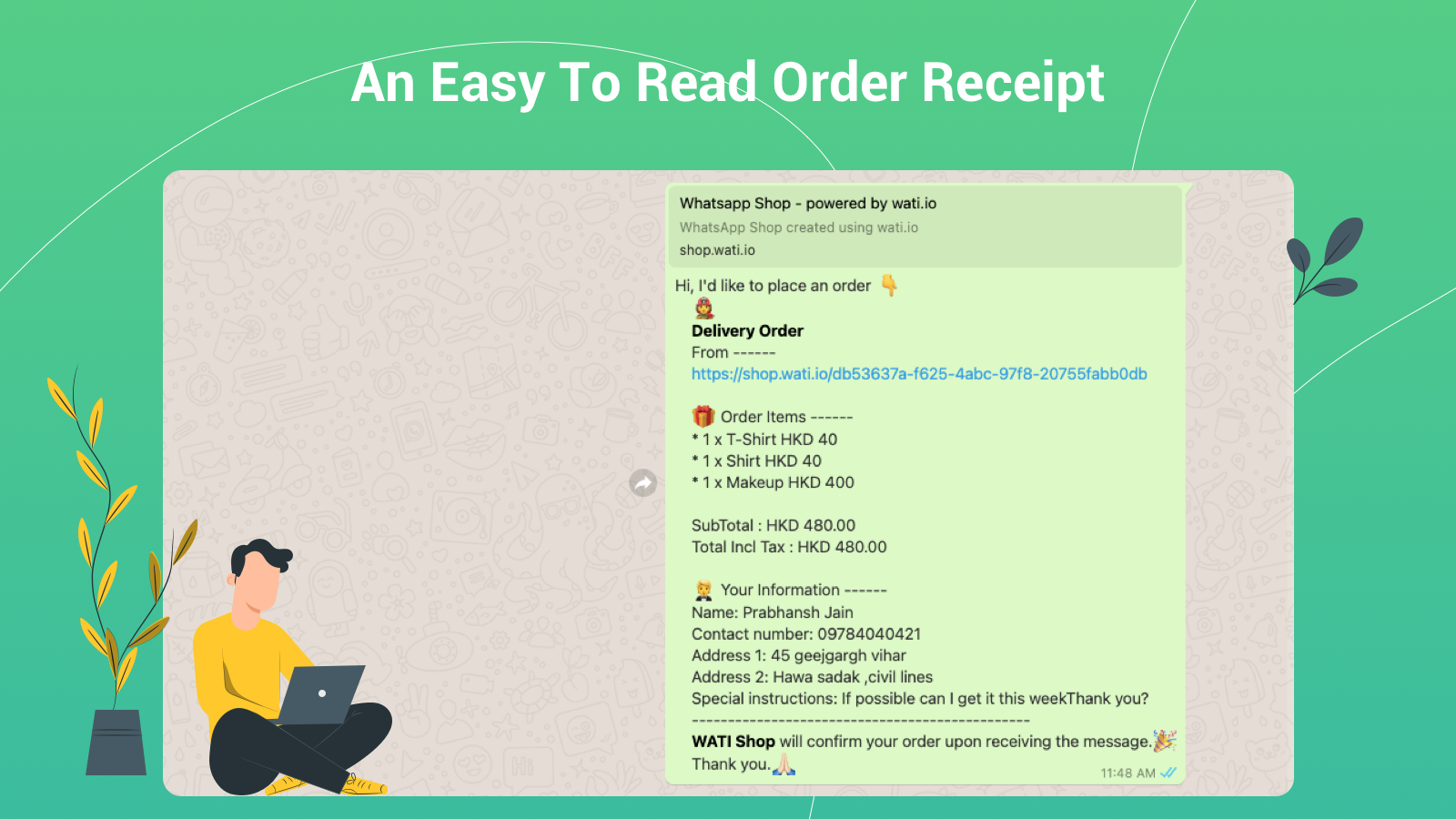 An Easy To Read Order Receipt