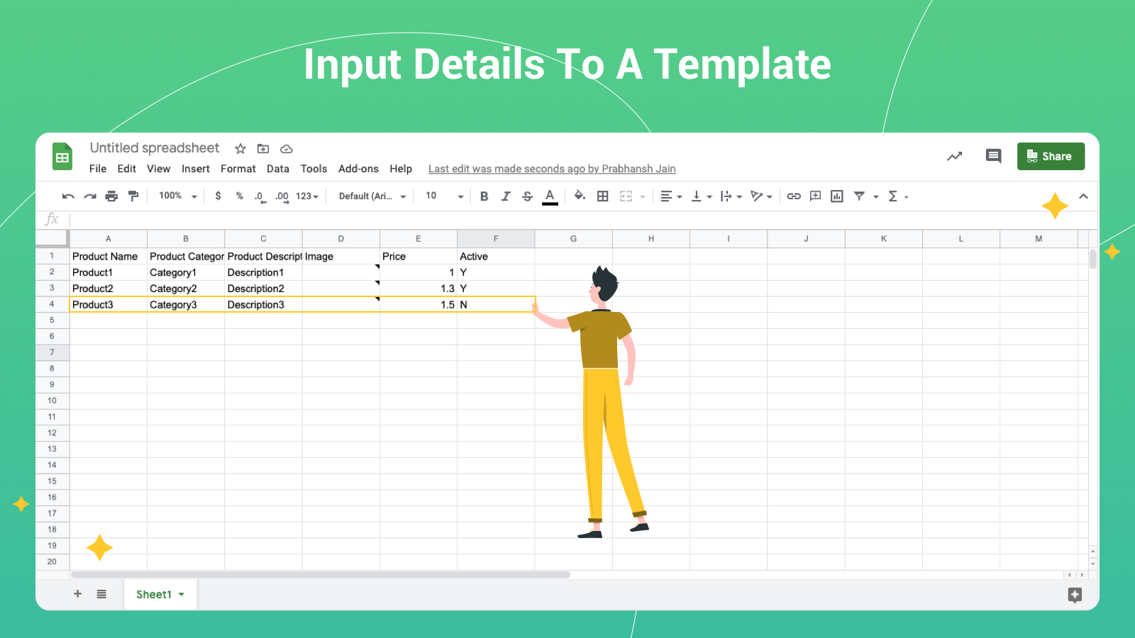 Input Details To A Template