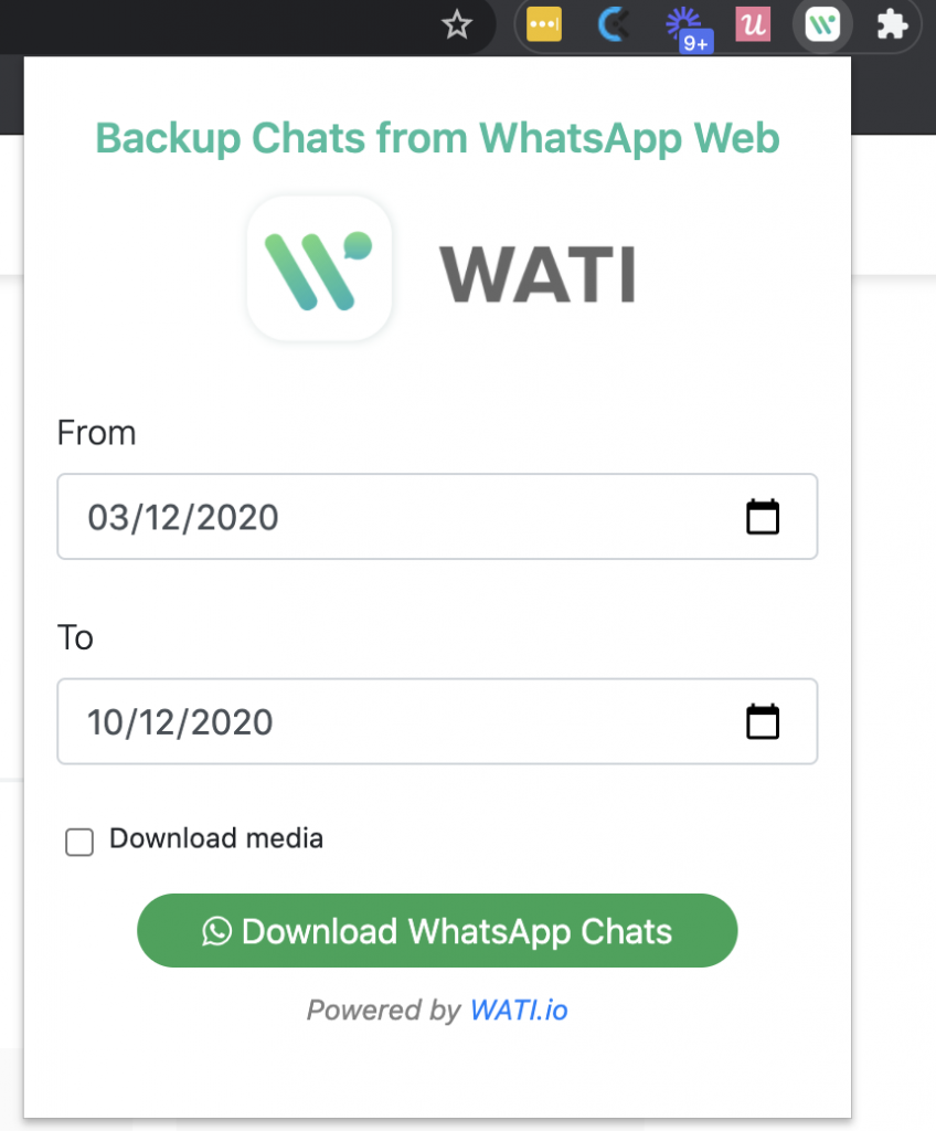 the tool to backup whatsapp chats from WhatsApp Web